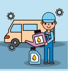 employee car repair maintenance oil container vector image