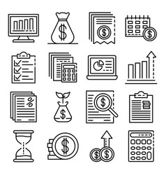 expense report icons set outline style vector image