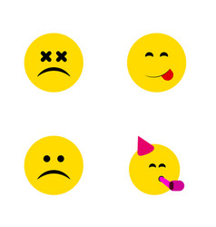 Flat icon face set of cross-eyed face sad vector