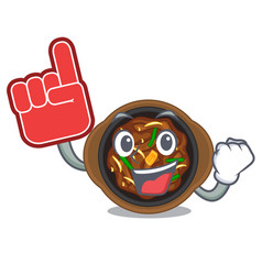Foam finger bulgogi isolated with in character vector