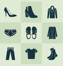 garment icons set with woman shoe fashionable vector image