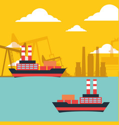 Gas oil tanker ships transport chemical industry vector
