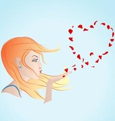 Girl blowing petals vector