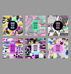 Glitch futuristic posters covers set hipster vector