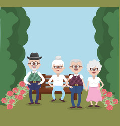 grandparents elderly friends vector image
