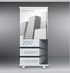 Gray standee roll up banner template design vector