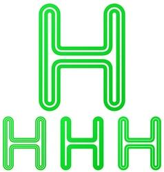 Green letter h logo design set vector image