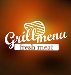 Grill menu label design lineart concept vector