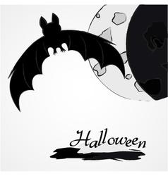 Halloween bat and moon vector image