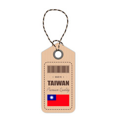 Hang tag made in taiwan with flag icon isolated on vector