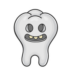 Happy creepy smiling tooth cartoon vector