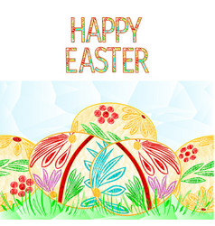 happy easter border seamless background easter vector image