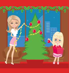 Happy family decorate christmas tree vector