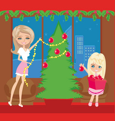 Happy family decorate the christmas tree vector