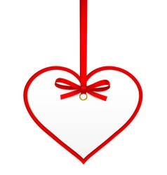 Heart with red ribbon vector image