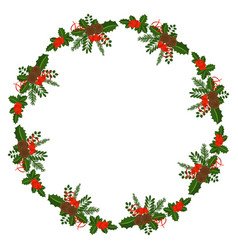 holly berry round border for christmas cards vector image