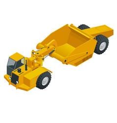 Isometric wheel tractor-scraper wheel tractor vector