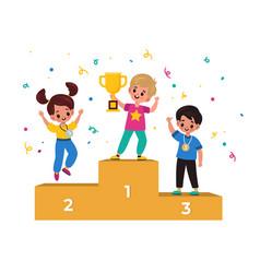 Kids winners winning podium with junior athletes vector