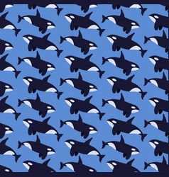 Killer whale flat seamless pattern vector
