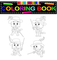 Kitten musketeer with sword coloring book vector