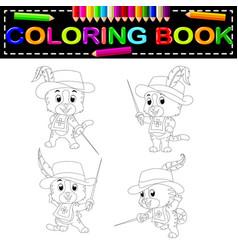 Kitten musketeer with sword coloring book vector