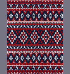 knitted chrismas rug tribal ornament seamless vector image