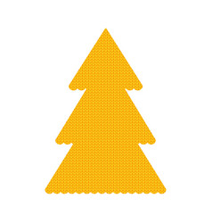 Knitted christmass tree yellow vector