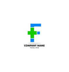 letter f cross plus logo medical healthcare vector image