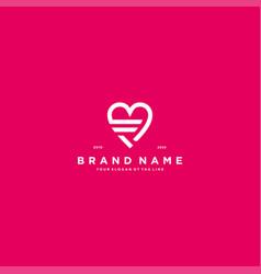 Letter f heart logo icon design vector