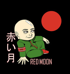 man view red moon in peace t-shirt graphic vector image