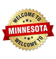 Minnesota 3d gold badge with red ribbon vector