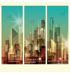 Modern cityscapes 3 vertical banners vector