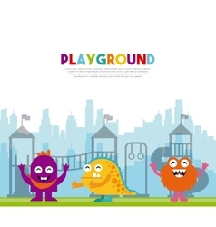 Monster playing in playground vector