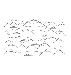 Mountains and clouds drawing the sketch by hand vector