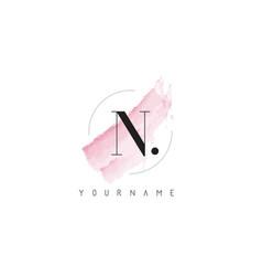 N letter logo with pastel watercolor aquarella vector