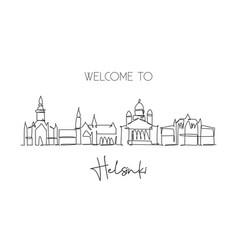 One single line drawing helsinki city skyline vector