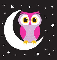 Owl in moon vector