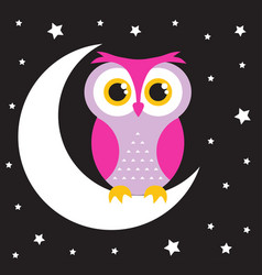 owl in the moon vector image