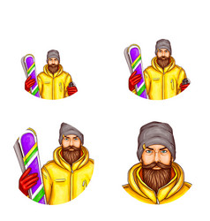 pop art avatar of snowboarder icon of vector image