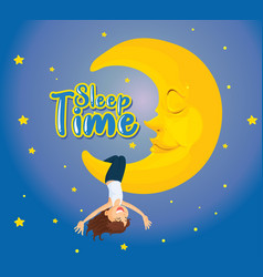 poster design for word sleep time with girl on vector image