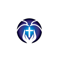 praying hand holding cross logo vector image