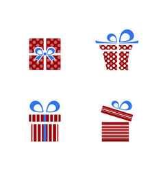 red and blue gifts icon set on white background vector image