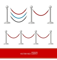 Red carpet silver barrier constructor vector