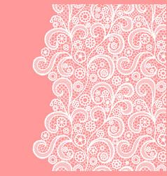 Seamless lace border white lacy vintage elegant vector