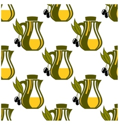 Seamless pattern of olive oil decanters vector