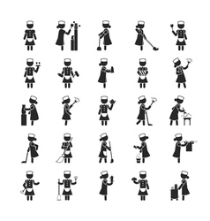 Set maid human pictograph icons eps10 vector