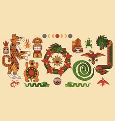 set mayan or aztec patterns tribal elements vector image