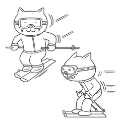 set of cat skiing vector image