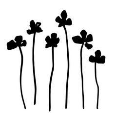 Set of floral elements black silhouette of plants vector