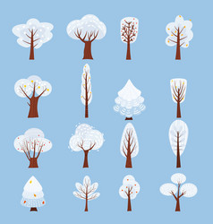 set of isolated winter tree decorate stylized vector image